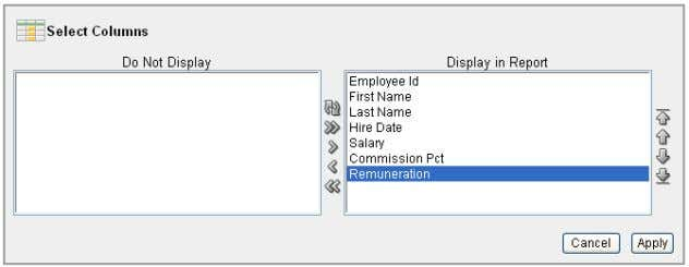 Move the Remuneration column from the Do Not Display box to the Display in Report box.