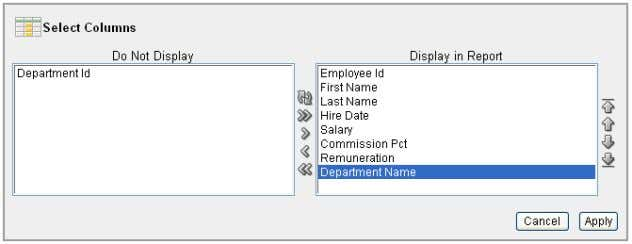 Adding a Department Column to the Employees Reports 4 . Click Apply . The Employees Report