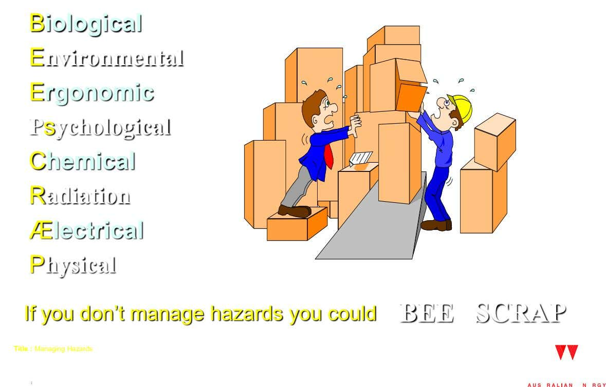 Biological Environmental Ergonomic Psychological Chemical Radiation Ælectrical Physical If you don't manage hazards you could BEE
