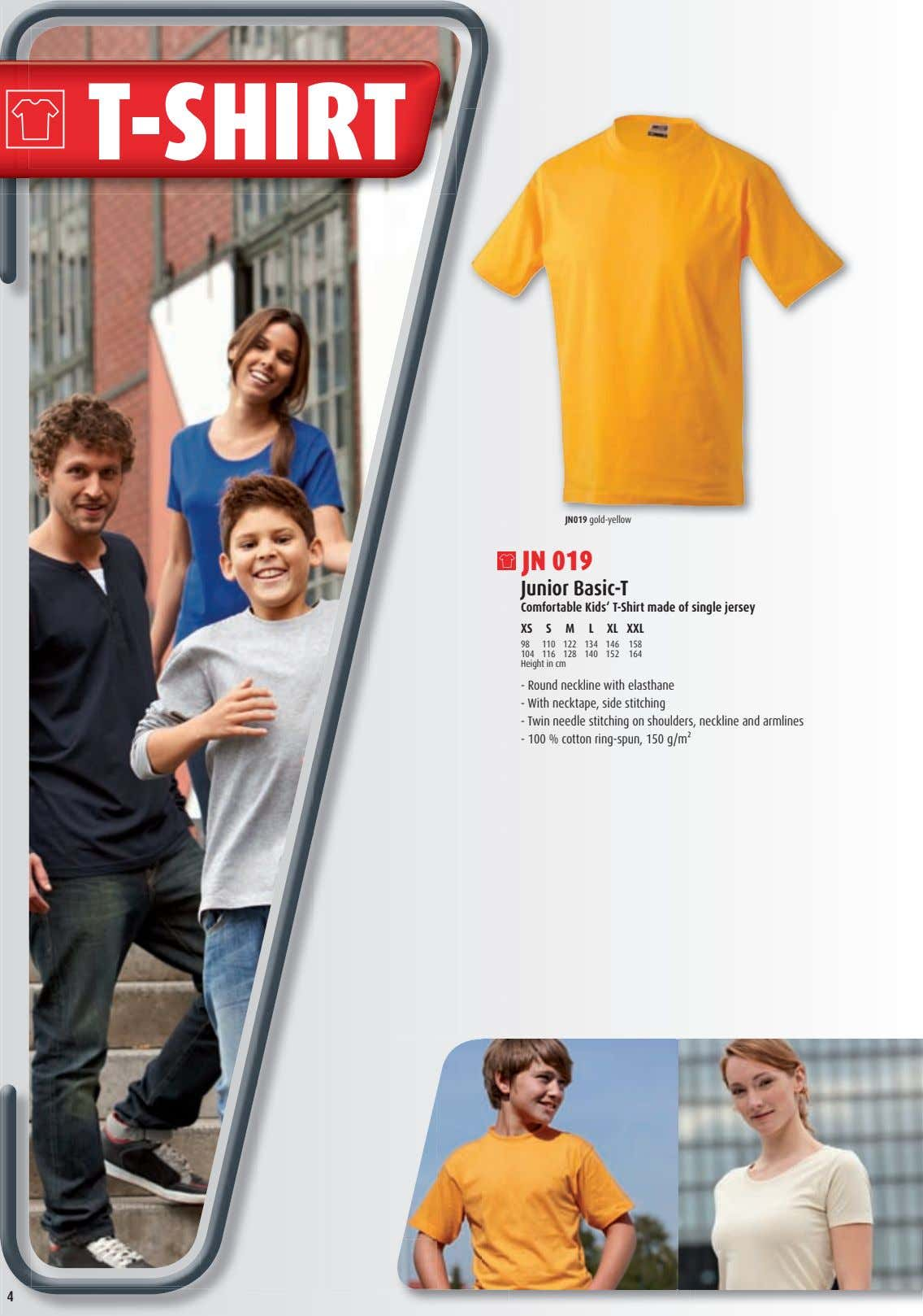 T-SHIRT JN019 gold-yellow JN 019 Junior Basic-T Comfortable Kids' T-Shirt made of single jersey XS