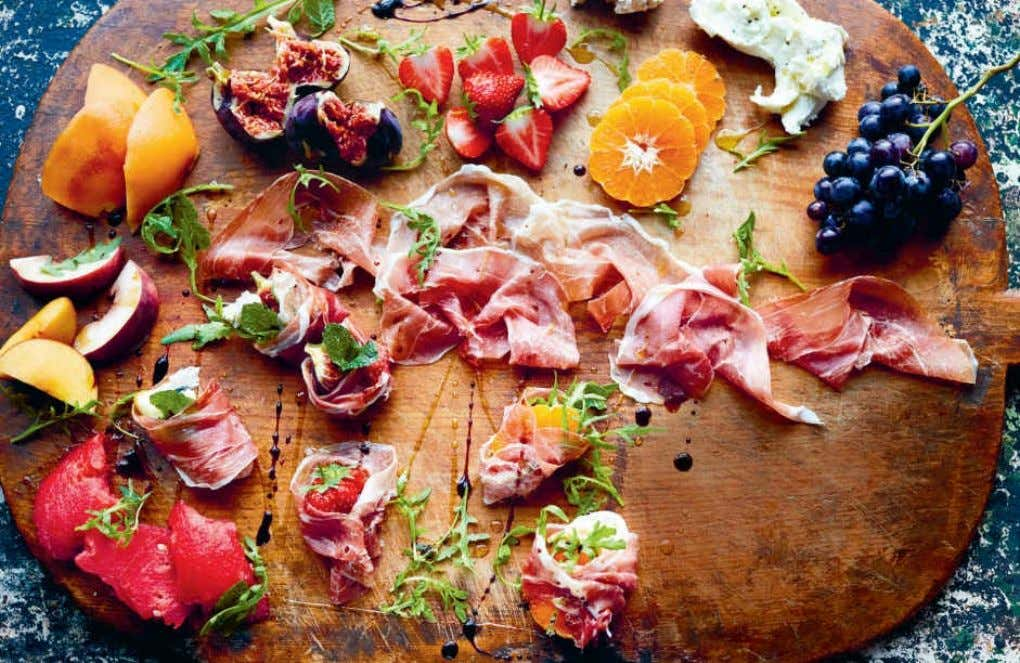 PROSCIUTTO & FRUIT Teaming up salty, good-quality cured meats, like prosciutto, with the fresh sweetness