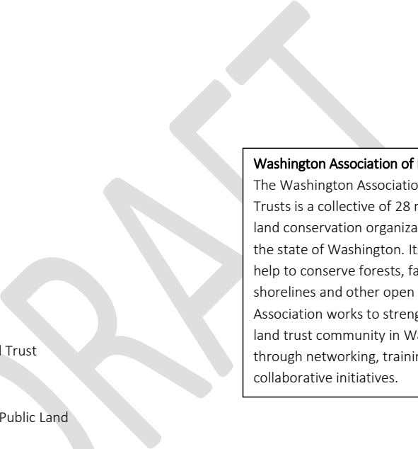 have been completed by tribes throughout the region. Land Trusts Many non-profit conservation organizations are