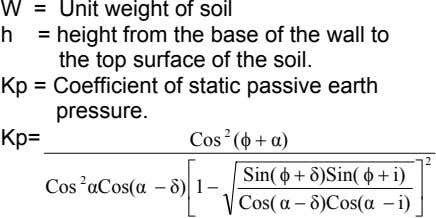 W = Unit weight of soil h = height from the base of the wall