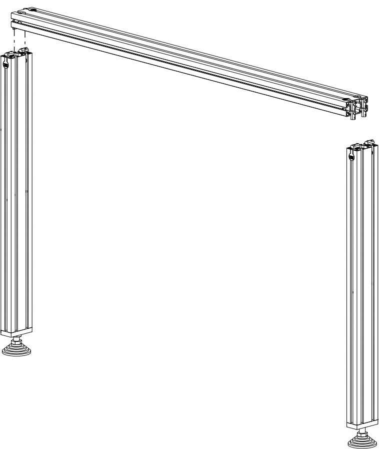 PRO Series 4848 Assembly 1.1. TABLE LEG ASSEMBLY • Use a section of 1250mm Leg Extrusion