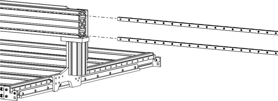 PRO Series 4848 Assembly 3.3. LINEAR RAIL INSTALLATION • Slide the threaded rails into the indicated
