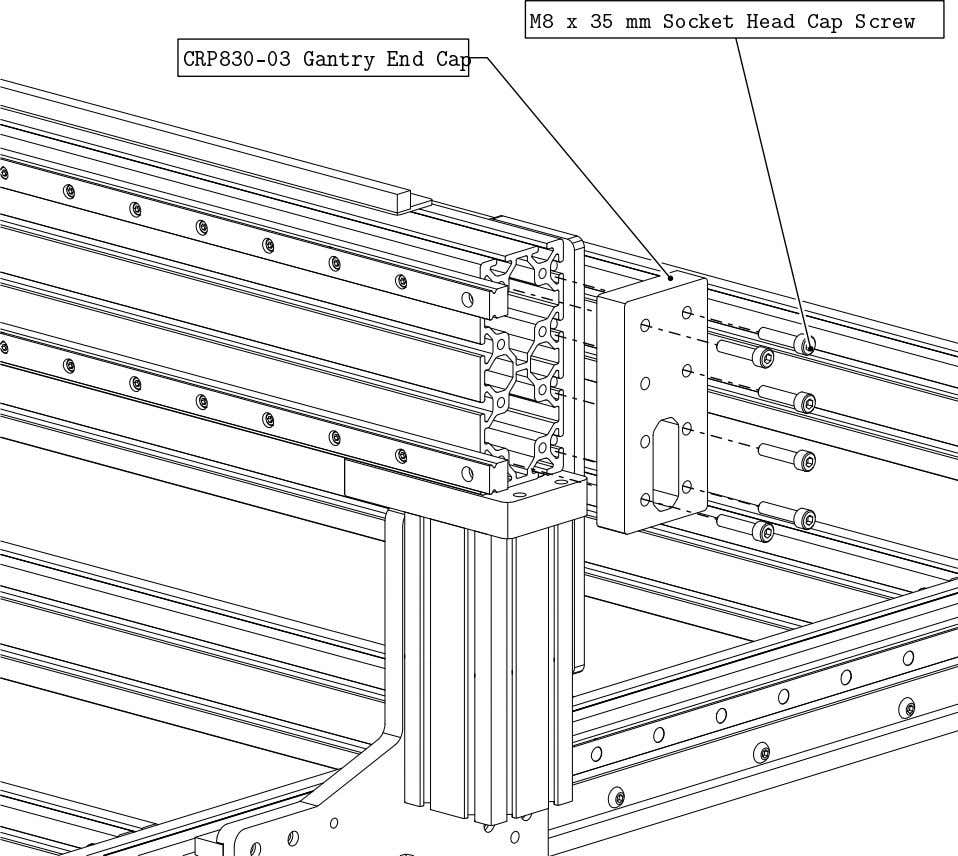 PRO Series 4848 Assembly 3.3. LINEAR RAIL INSTALLATION • Install a Gantry End Cap on the