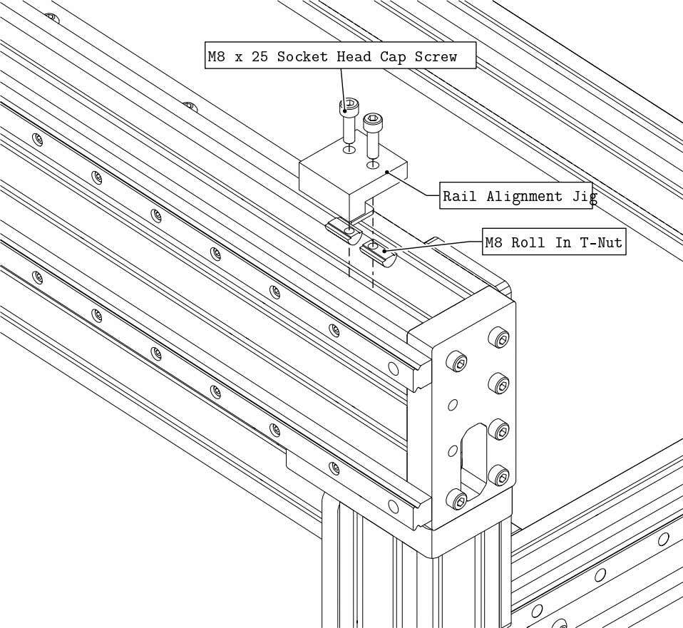 PRO Series 4848 Assembly 3.3. LINEAR RAIL INSTALLATION • Attach a Rail Adjustment Jig at one