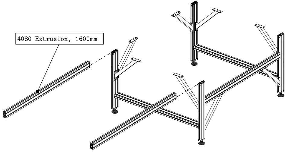 PRO Series 4848 Assembly 1.2. TABLE FRAME ASSEMBLY • Attach the leg assemblies to two 1600mm