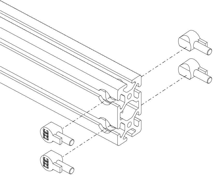 PRO Series 4848 Assembly 1.2. TABLE FRAME ASSEMBLY • Slide the anchor assembly into the extrusion.