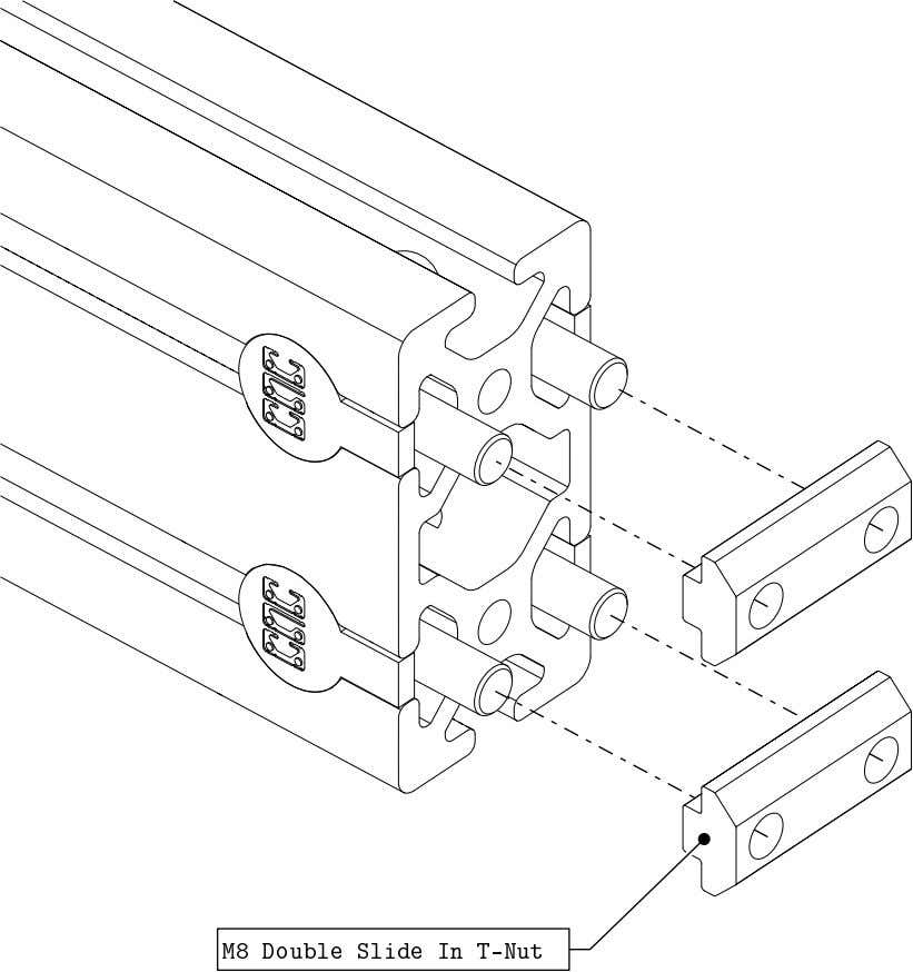 PRO Series 4848 Assembly 1.2. TABLE FRAME ASSEMBLY • Loosely thread the double t-nuts onto the