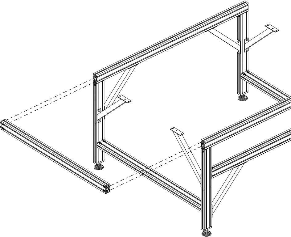 PRO Series 4848 Assembly 1.2. TABLE FRAME ASSEMBLY • Slide the t-nuts into the frame extrusion