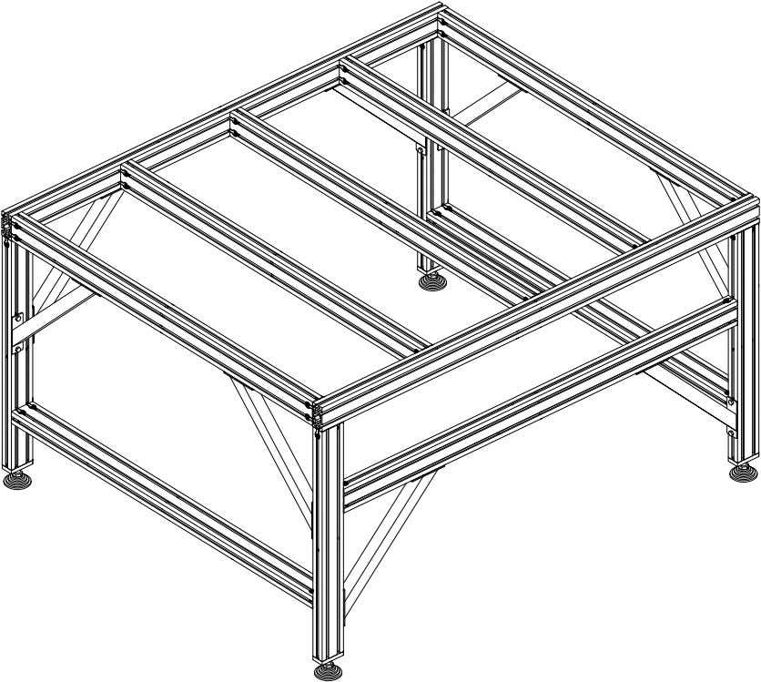 PRO Series 4848 Assembly 1.2. TABLE FRAME ASSEMBLY • Repeat the previous step for all crossmembers.