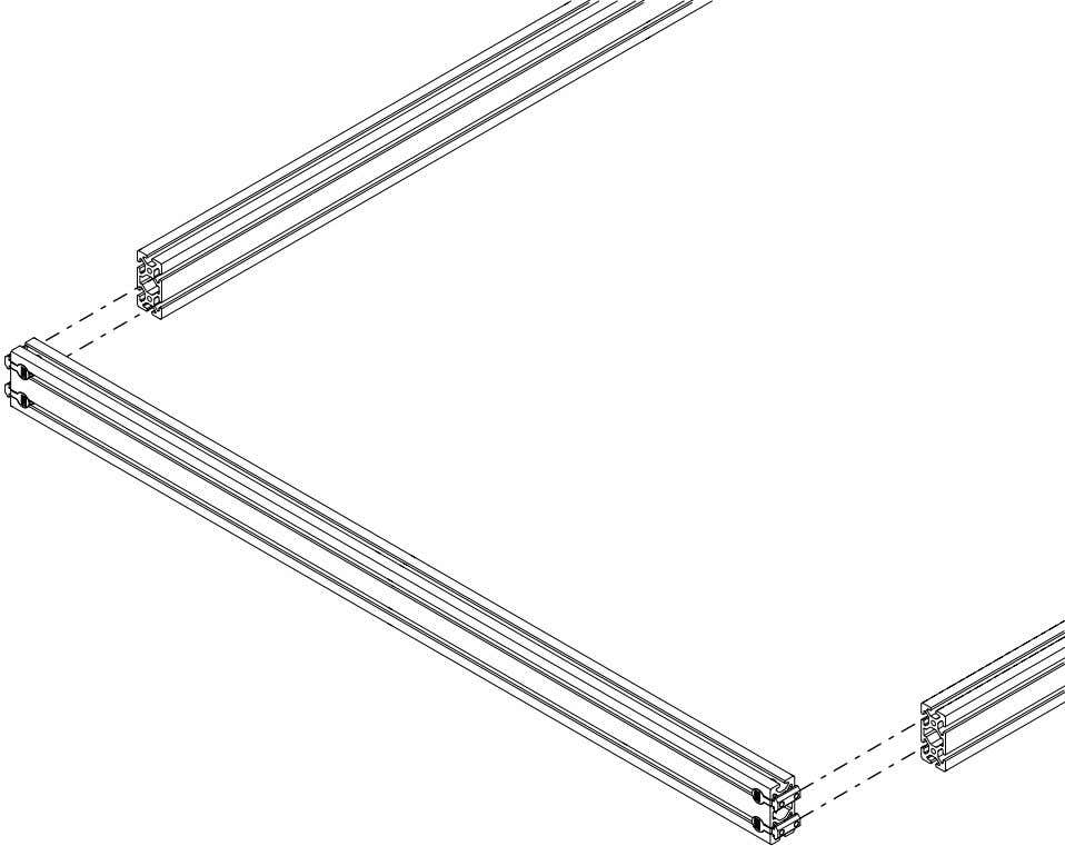 PRO Series 4848 Assembly 1.3. CROSSMEMBER INSTALLATION • Slide the t-nuts into the frame extrusion as