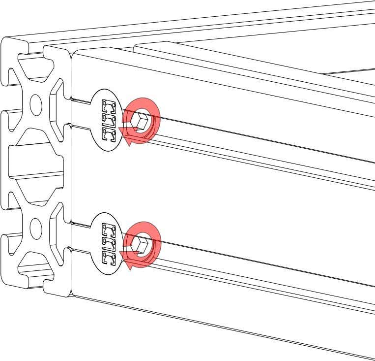 PRO Series 4848 Assembly 1.3. CROSSMEMBER INSTALLATION • Tighten the socket heads in each of the