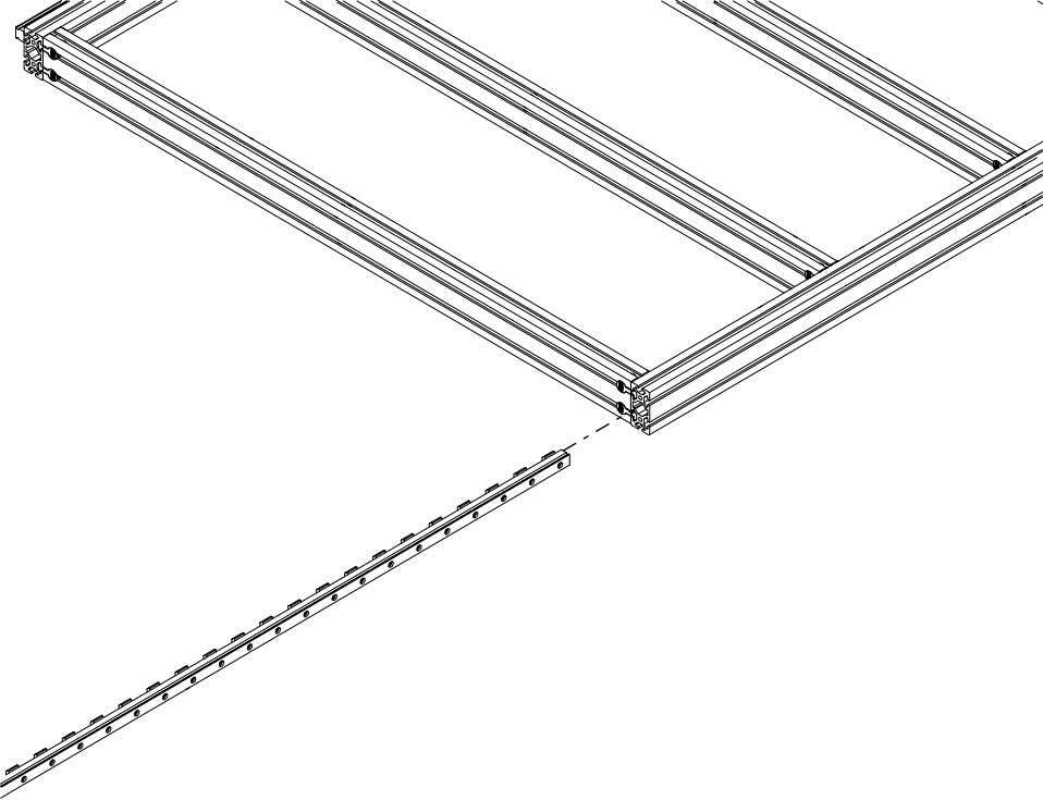 PRO Series 4848 Assembly 1.4. LINEAR RAIL INSTALLATION • Slide one of the rails into the