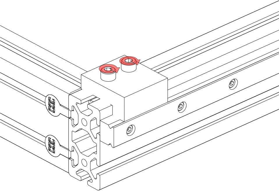 PRO Series 4848 Assembly 1.4. LINEAR RAIL INSTALLATION • Tighten the highlighted fasteners. PRO Series 4848