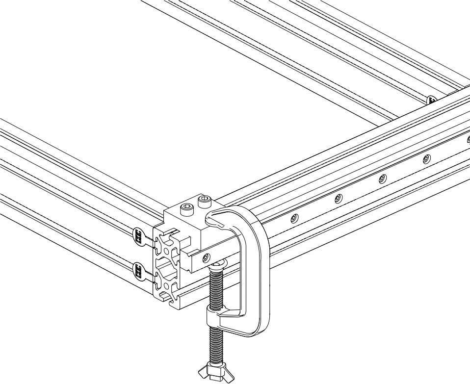 PRO Series 4848 Assembly 1.4. LINEAR RAIL INSTALLATION • Clamp the end of the linear rail