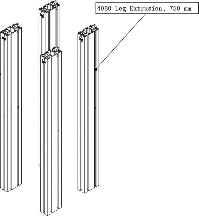 PRO Series 4848 Assembly 1.1. TABLE LEG ASSEMBLY • Repeat the previous steps one side for