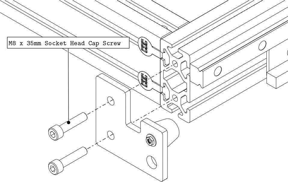 PRO Series 4848 Assembly 2.2. TABLE BUMPERS • Install a bumper to the extrusion as indicated.