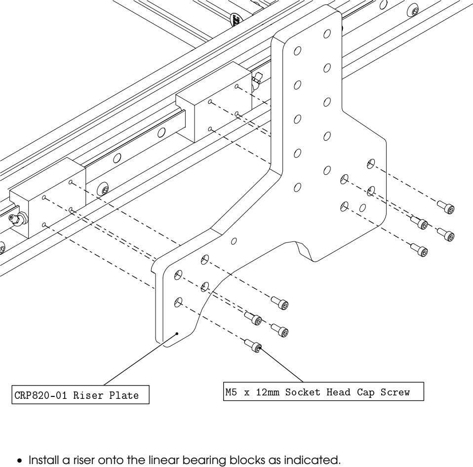 • Install a riser onto the linear bearing blocks as indicated.