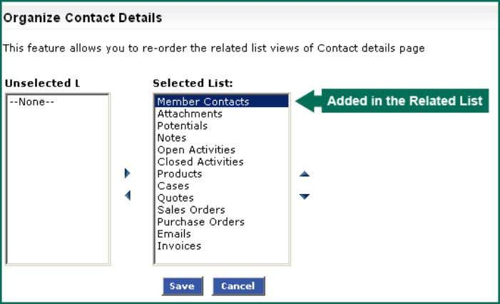 change the order of the custom related list (Example: Member Contact created for Reports to lookup).