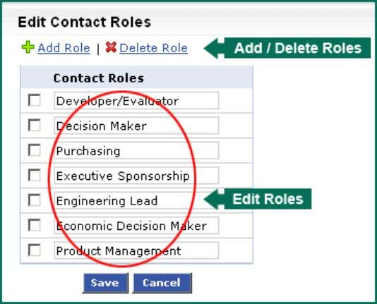 selecting the role(s) to delete role(s). c. Modify the existing roles from the Contact Role text