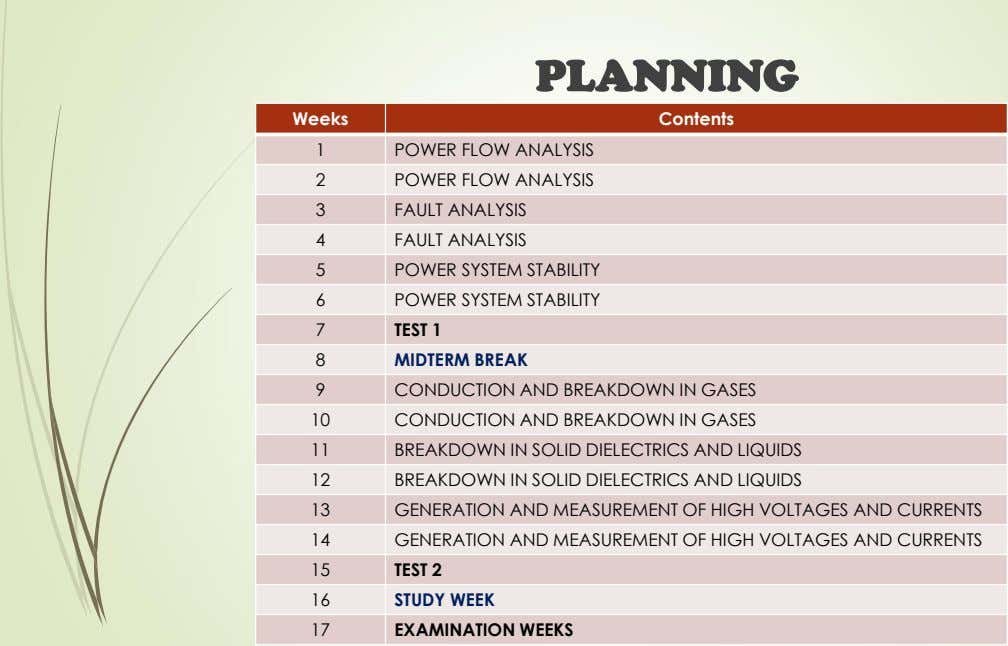 PLANNING Weeks Contents 1 POWER FLOW ANALYSIS 2 POWER FLOW ANALYSIS 3 FAULT ANALYSIS 4 FAULT