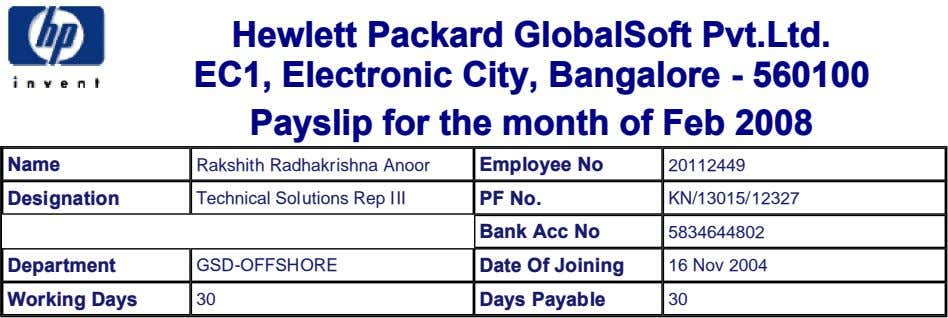 Hewlett Packard GlobalSoft Pvt.Ltd. EC1, Electronic City, Bangalore - 560100 Payslip for the month of