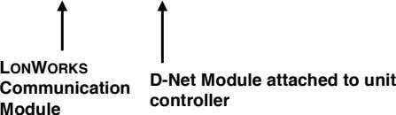 LONWORKS Communication D-Net Module attached to unit controller Module