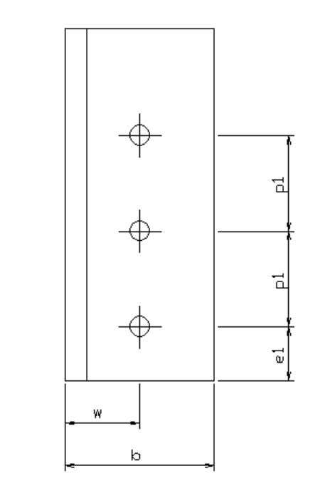 I section diagonal bolted through flange with double (non) staggered bolt row Bolt configurations Angle section