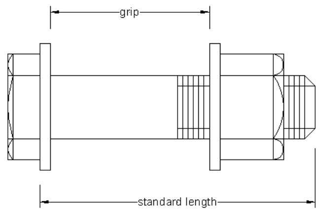 2 ways:  by the relation standard length - grip length,  by adding a specific