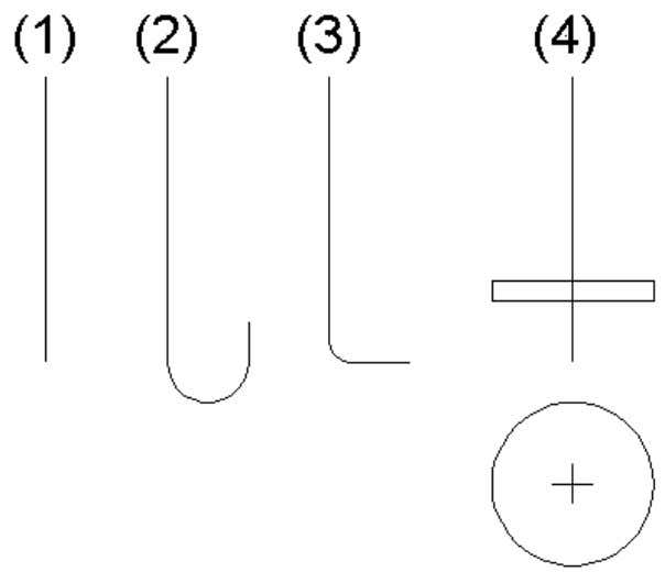 Engineer supports several anchor types: Connection parts 1. straight anchor 2. hooked anchor 3. curved (bended)