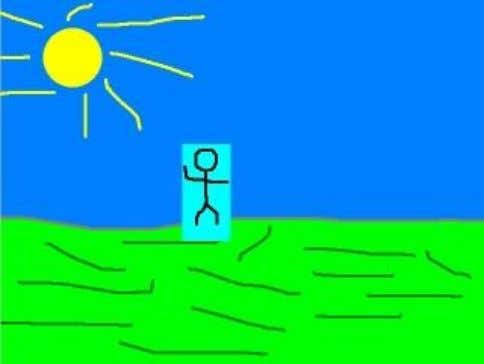 want this blue background from the stick figure to pop up: In order for the blue