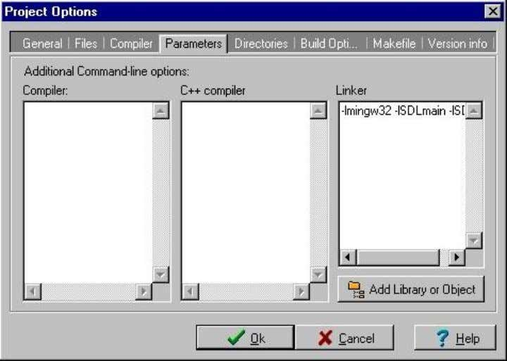 -lmingw32 -lSDLmain -lSDL in the linker. 10) A dd source new source file to the project.