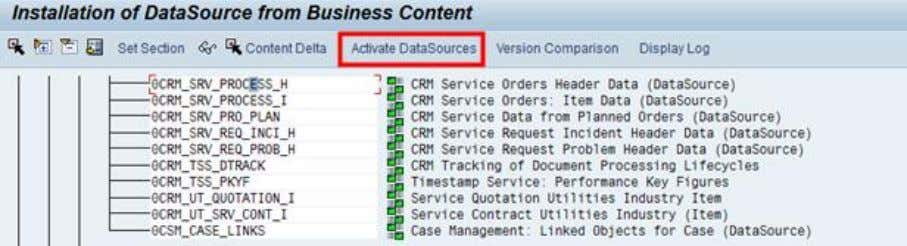 RSA5, installation of data sources form business content. Figure 9: Installation of standard business content data