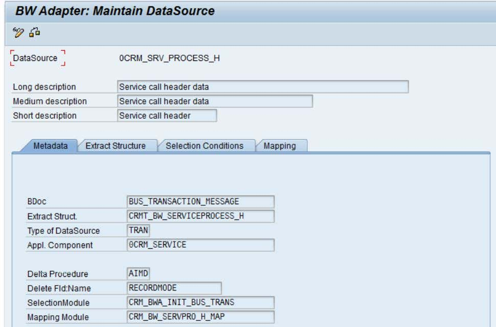 CRM (ADB) Data Extraction for Business Information Reporting Figure 13: BW Adapter data source metadata (BWA1)