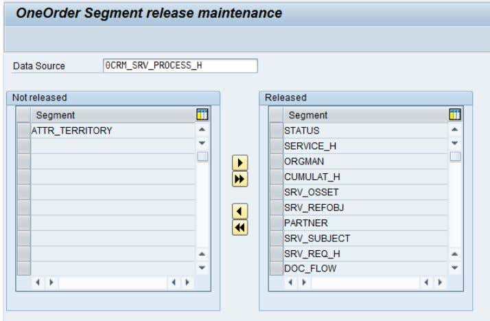 CRM (ADB) Data Extraction for Business Information Reporting Figure 14: Order segments release maintenance (BWA_SEGREL)