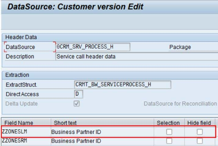 CRM (ADB) Data Extraction for Business Information Reporting Figure 23: Changing the data source to include