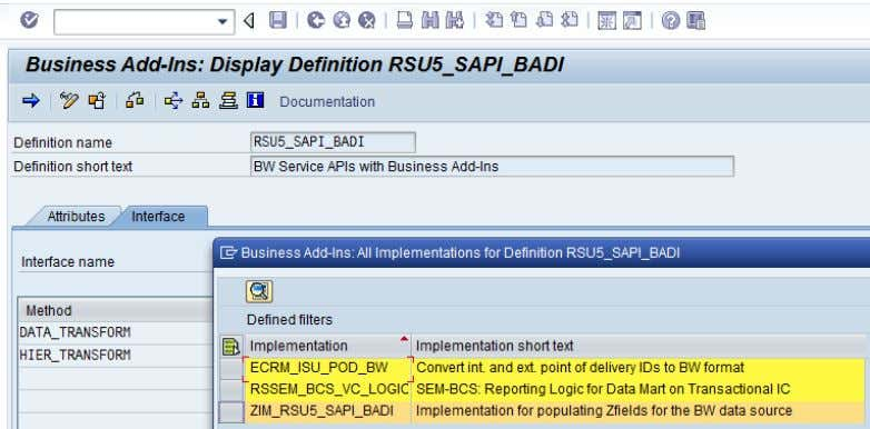 CRM (ADB) Data Extraction for Business Information Reporting Figure 27: BAdI implementation for SAPI Enhancement,