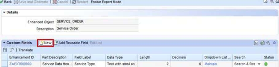 CRM (ADB) Data Extraction for Business Information Reporting Figure 32: Creating the enhancement (UI configuration tool)