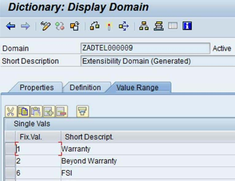 The infoobject for the same will be a custom one with texts. Figure 43: Display domain