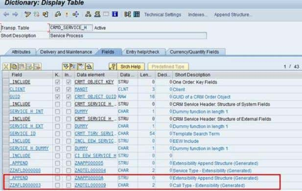 CRM (ADB) Data Extraction for Business Information Reporting Figure 42: CRM Table Display - CRMD_SERVICE_H (SE11)