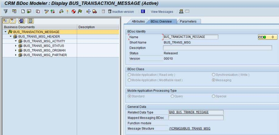 CRM (ADB) Data Extraction for Business Information Reporting Figure 45: Display business document (BDoc)