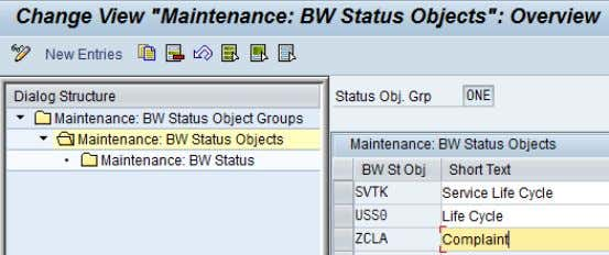 group and the four-character name of the BW status object. Figure 59: Maintenance of BW status