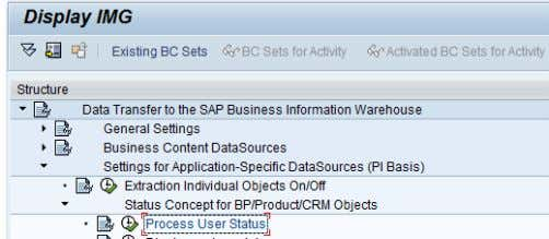 status is made in the transaction SBIW in the CRM system. Figure 58: Process user status