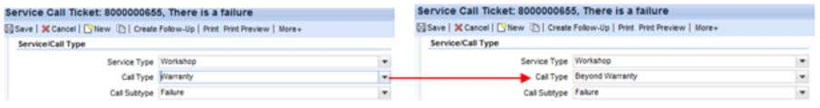 below from 'warranty' to 'beyond warranty' . Figure 73: Change in service transaction (CRM_UI) When the