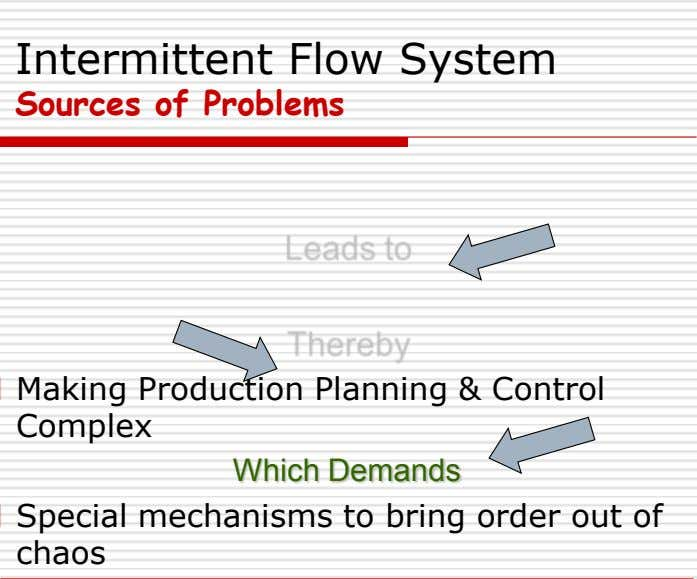 Intermittent Flow System Sources of Problems Making Production Planning & Control Complex Which Demands Special