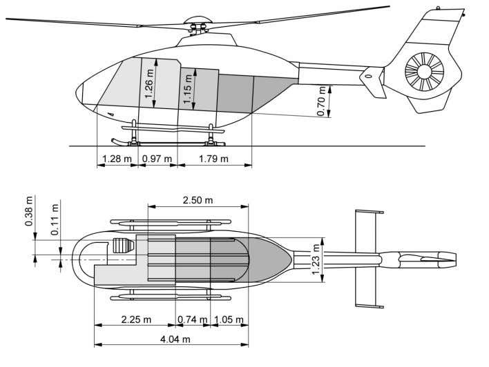 EC 135 Technical Data INTERNAL DIMENSIONS Floor area   Volume   Cabin 3.15 m² 33.91 ft²