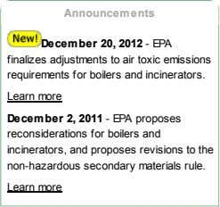 Announcements December 20, 2012 - EPA finalizes adjustments to air toxic emissions requirements for boilers