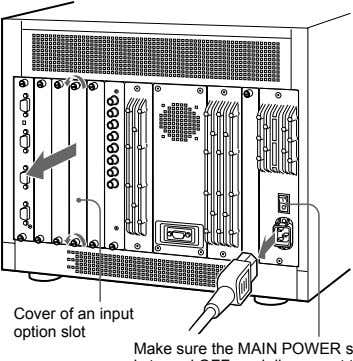 Cover of an input option slot